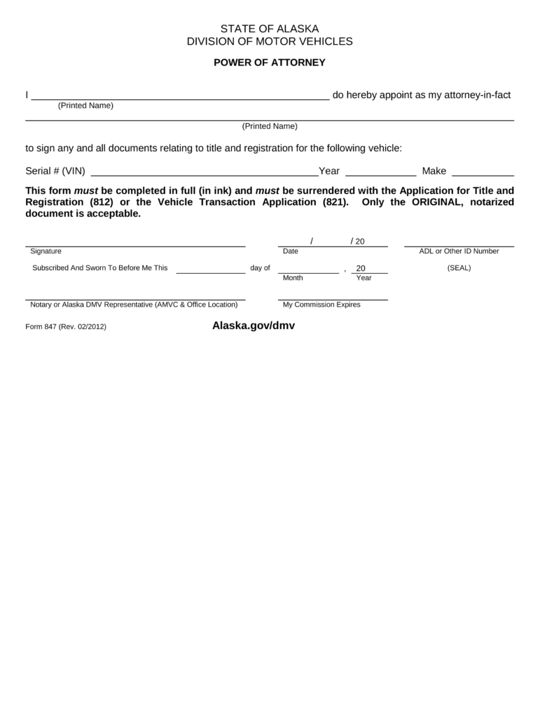 Free Alaska Dmv Power Of Attorney Form 847 Pdf Eforms Free
