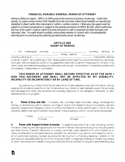 Free Arizona Durable Financial Power Of Attorney Form Pdf