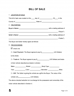 Free Bill Of Sale Forms Pdf Word Eforms Free
