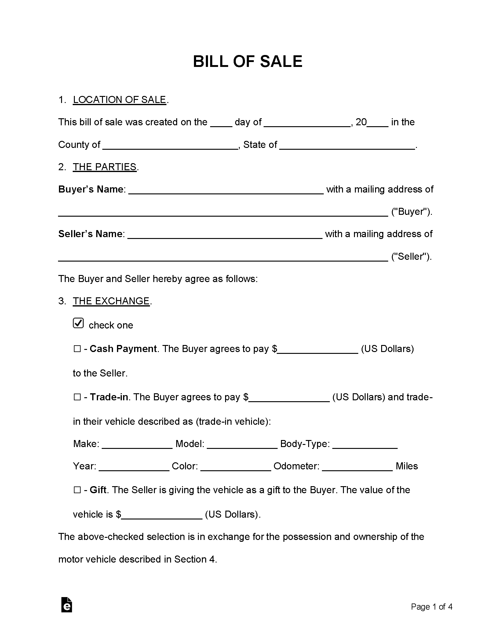 Free Motor Vehicle (DMV) Bill of Sale Form - PDF | Word