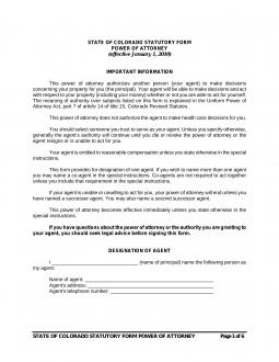 Free Colorado Power of Attorney Forms - PDF | eForms – Free ...