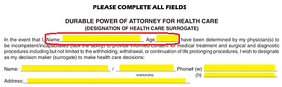 Florida Medical Of Attorney Form