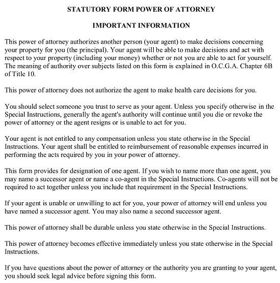 photo regarding Free Printable Power of Attorney Form Nj referred to as Absolutely free Ga Tough Electricity of Lawyer Kind - PDF Term