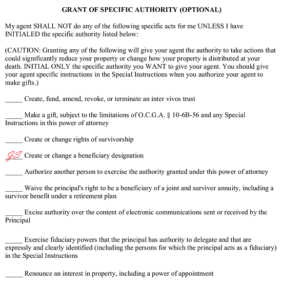 power of attorney form ga  Free Georgia Durable Power of Attorney Form - PDF | Word ...