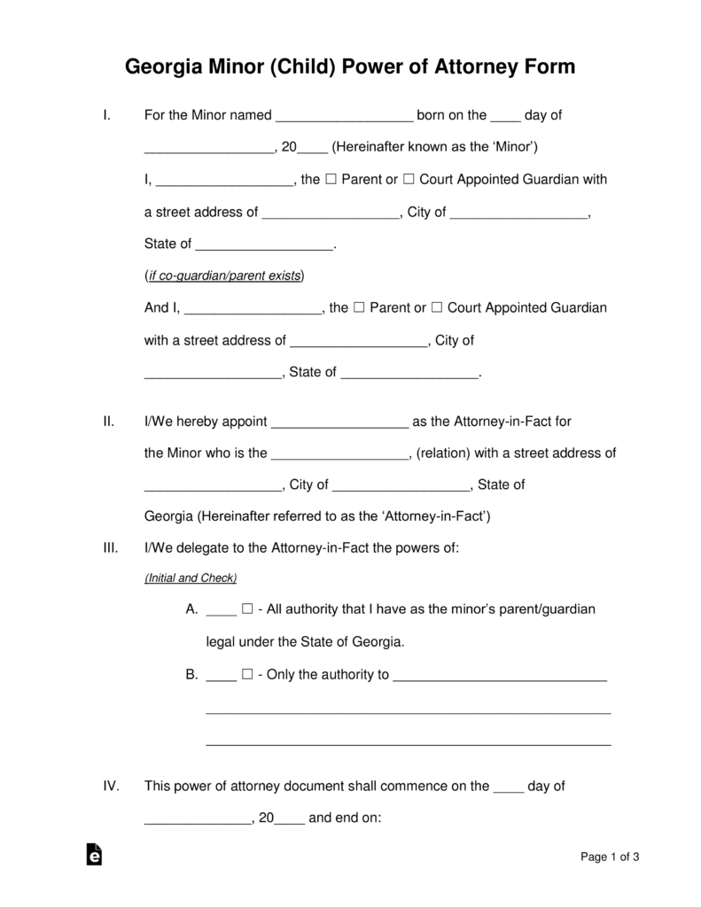 Free Georgia Grandparent Guardian Of Minor Power Of Attorney Form