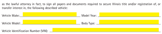 Free Illinois Motor Vehicle Power of Attorney Form - PDF