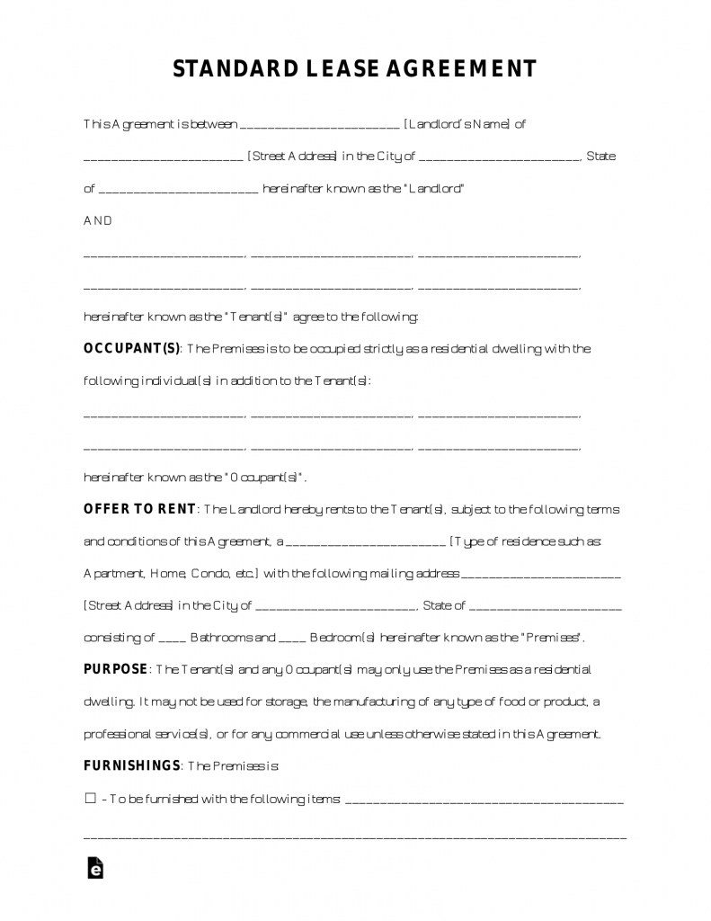 Free Standard Residential Lease Agreement Template - PDF | Word ...