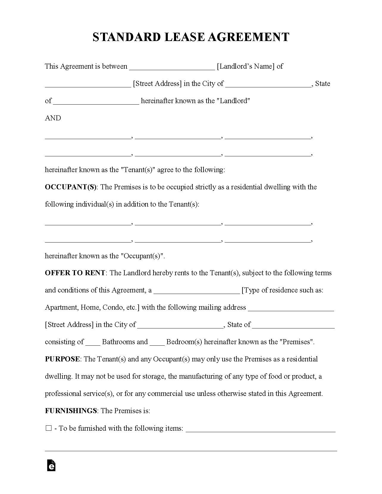 Free Rental Lease Agreement Templates Residential