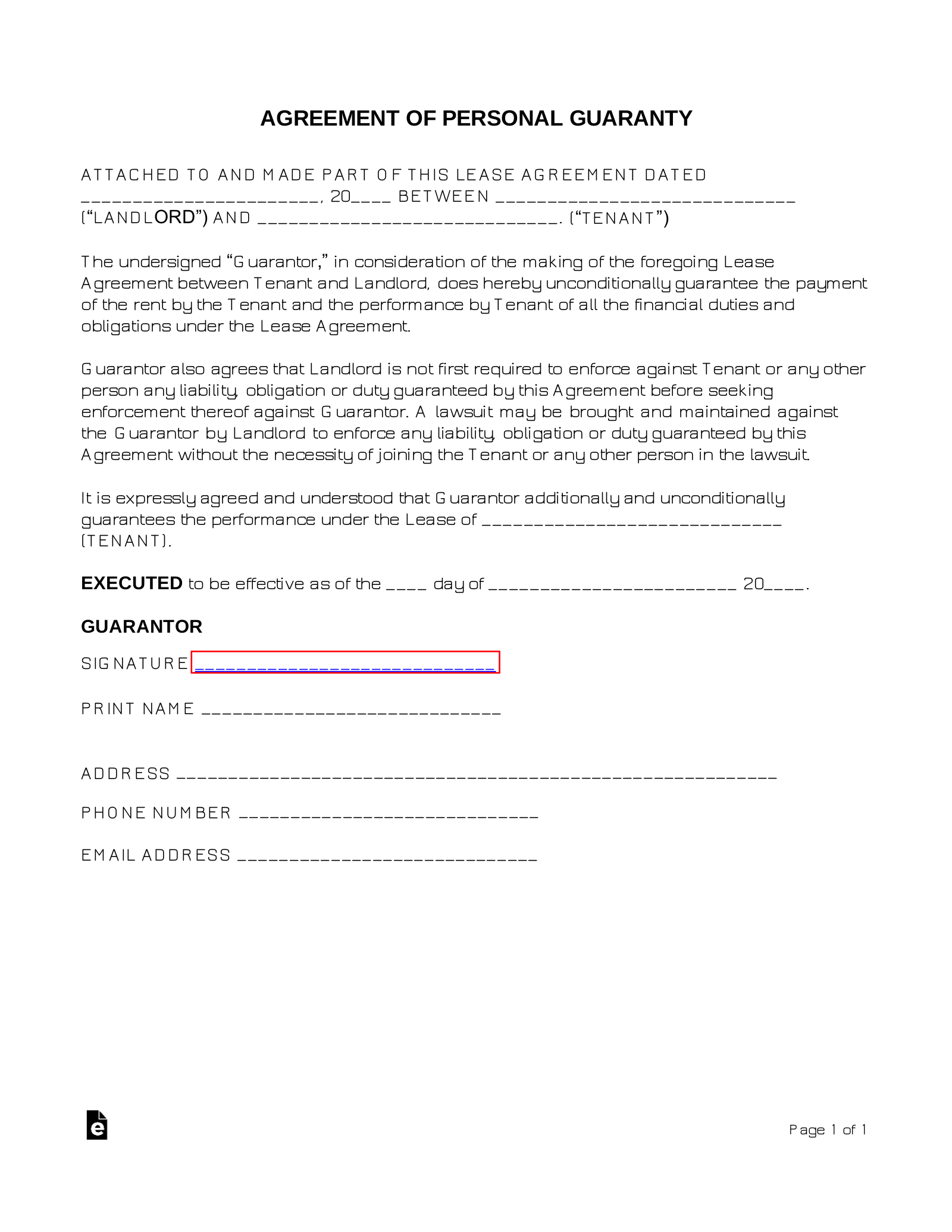 Real Estate Lease Personal Guarantee (Co-Sign) Form | eForms