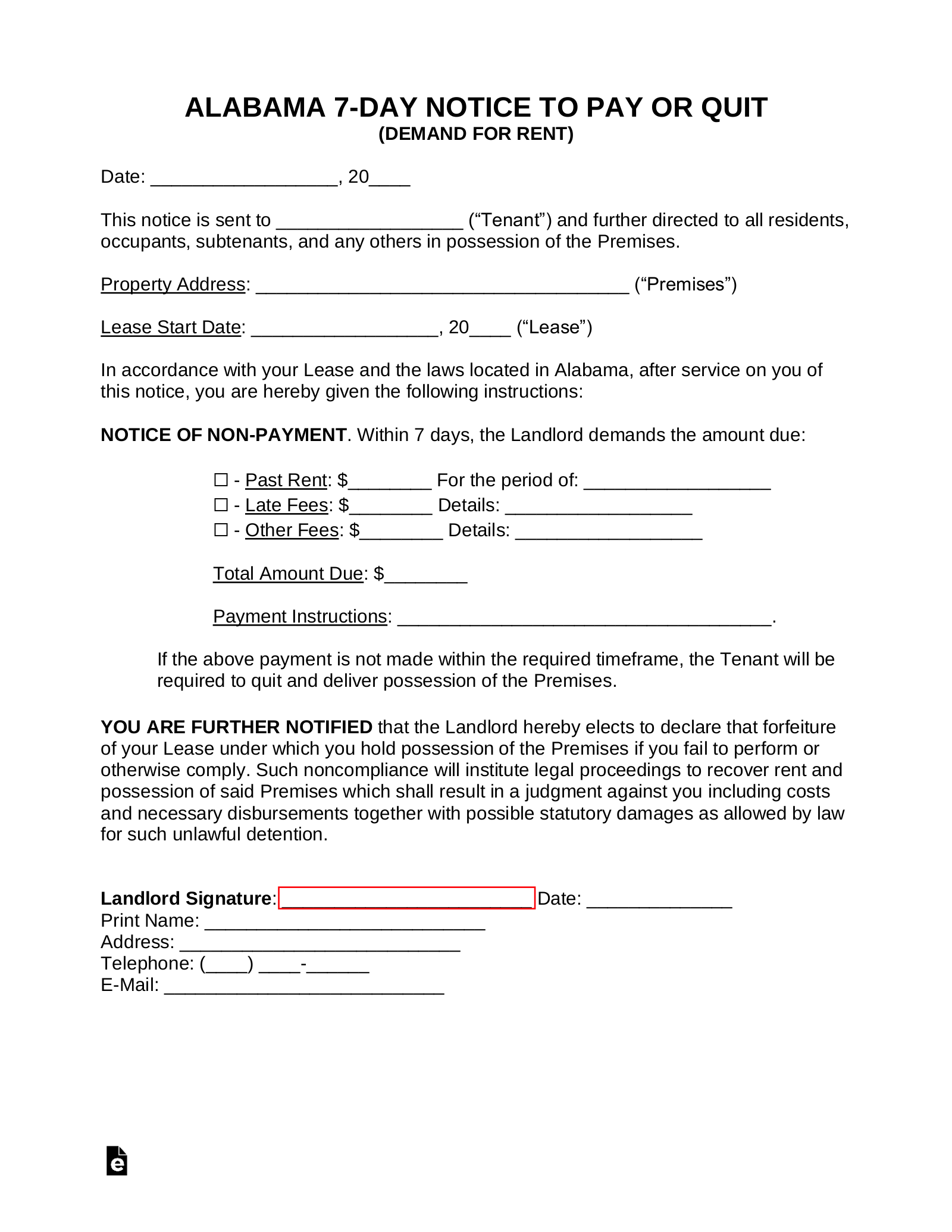 alabama-7-day-notice-to-quit-form Sale Agreement Letter Template on retail sample contract, spanish for, microsoft word, motor vehicle, free printable purchase, service line,
