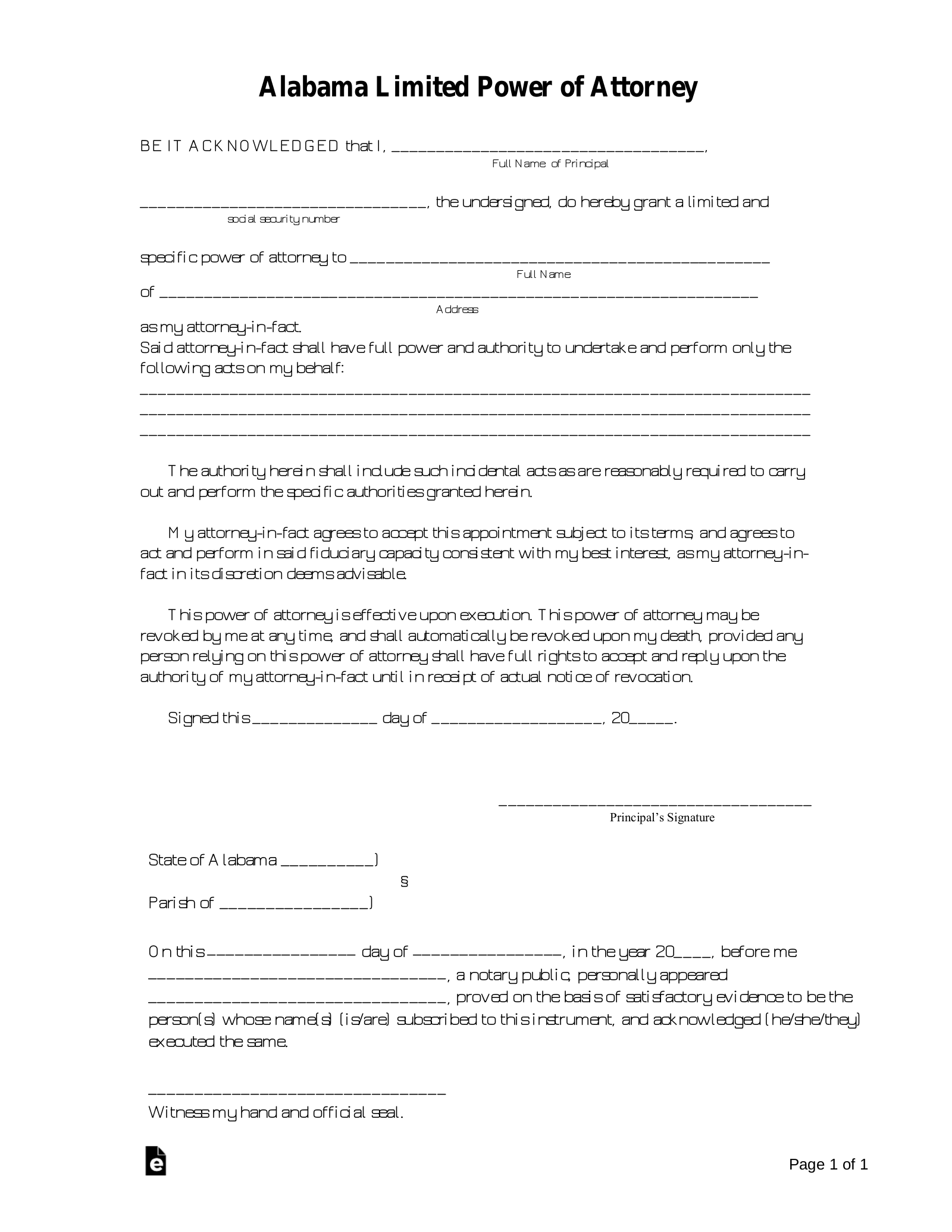Free Alabama Limited Power of Attorney Form - PDF   Word ... on easement form alabama, quit claim deed form alabama, printable medical power attorney forms alabama, bill of sale form alabama, name change form alabama, power of attorney document, power of attorney print out,