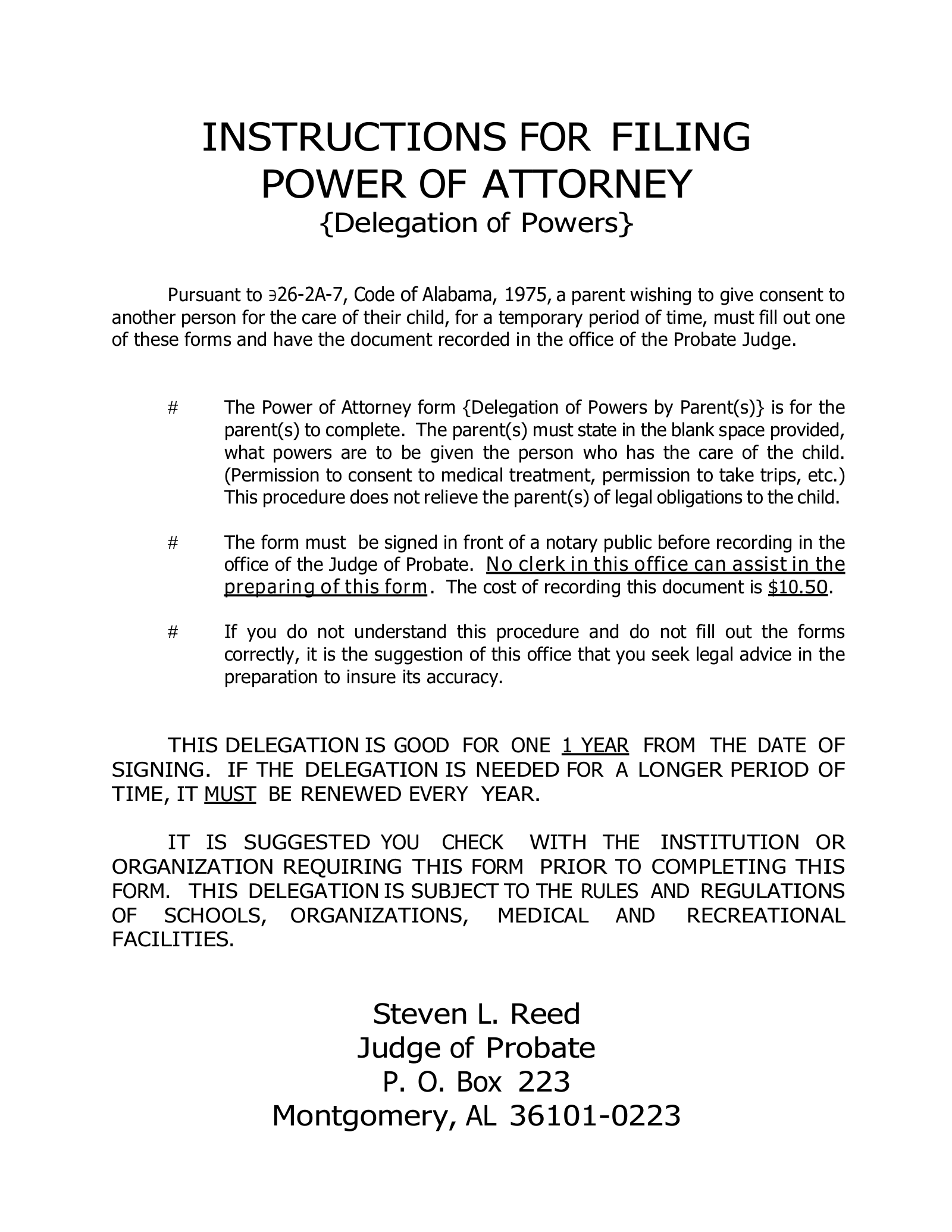 Free Alabama Parental (Minor Children) Power of Attorney ... on easement form alabama, quit claim deed form alabama, printable medical power attorney forms alabama, bill of sale form alabama, name change form alabama, power of attorney document, power of attorney print out,