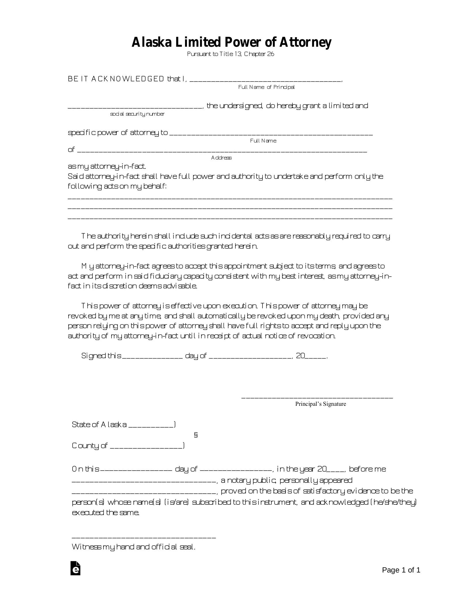 power of attorney form alaska  Free Alaska Limited Power of Attorney Form - PDF | Word ...