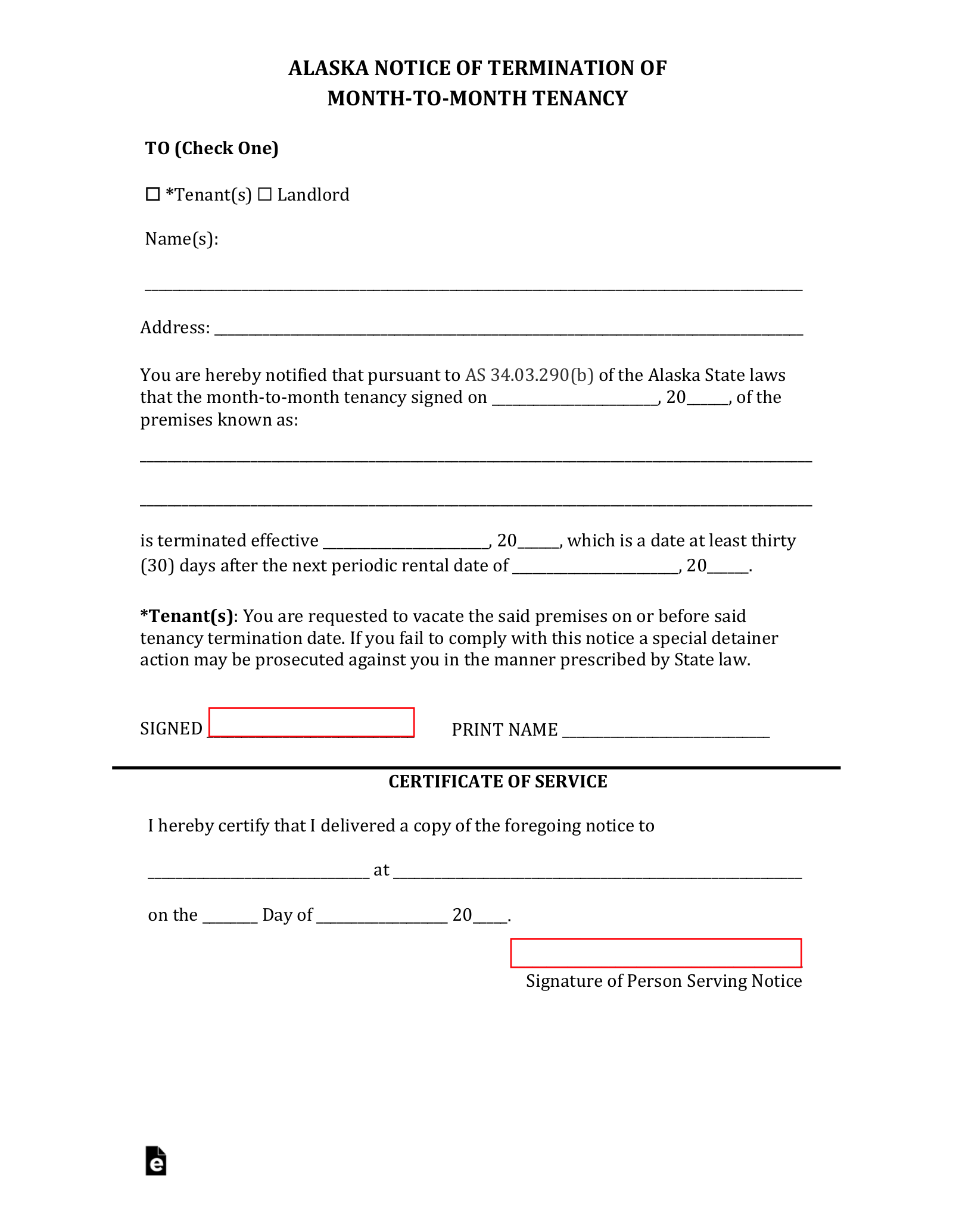 Alaska Termination Lease Letter Form 30 Day Notice