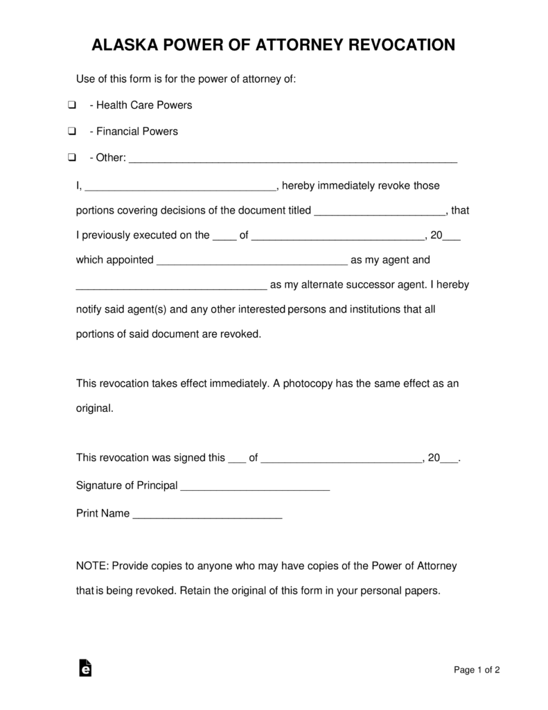 Free Alaska Revocation Of A Power Of Attorney Form Pdf Word