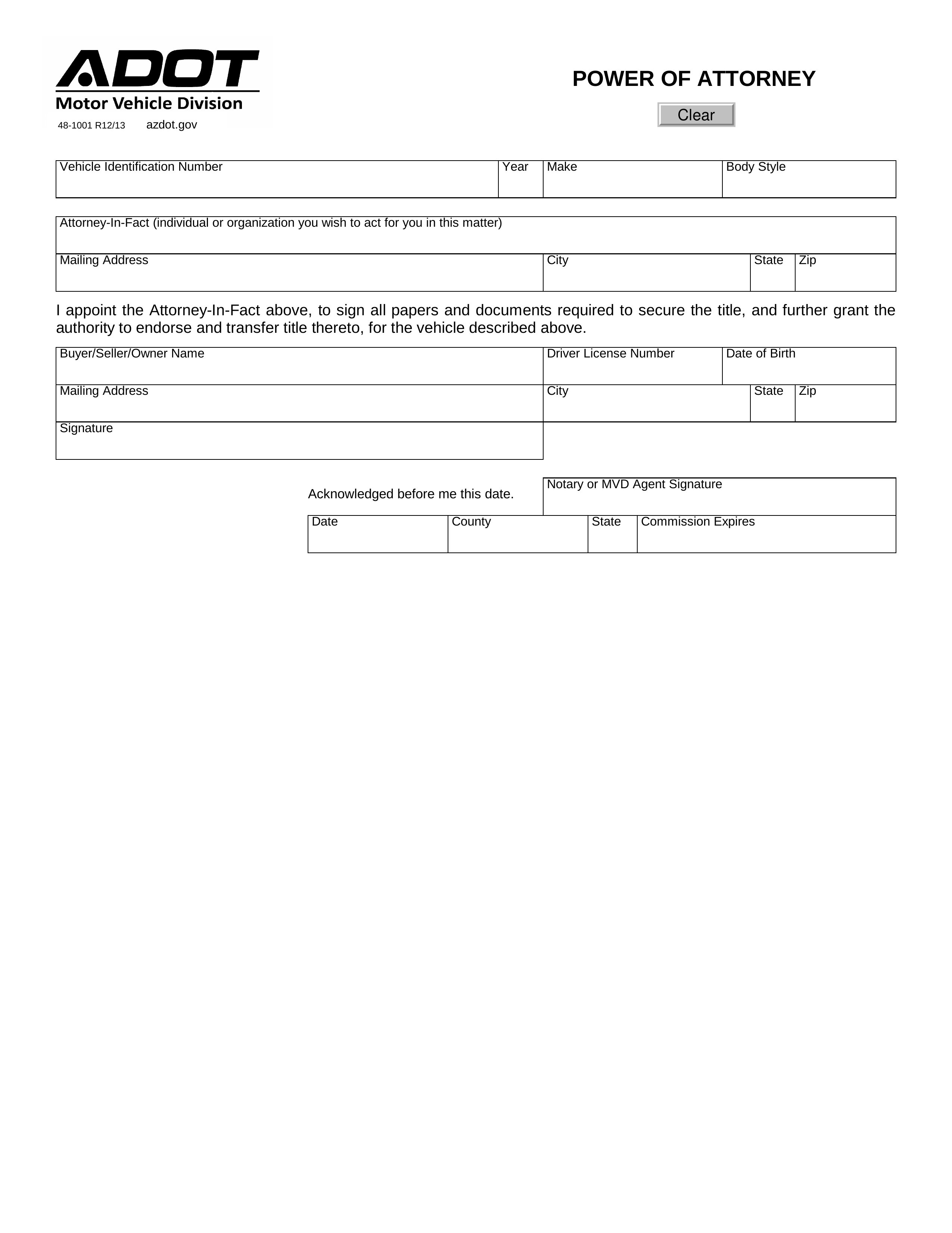 power of attorney form az  Free Arizona Vehicle Power of Attorney Form - PDF | eForms ...