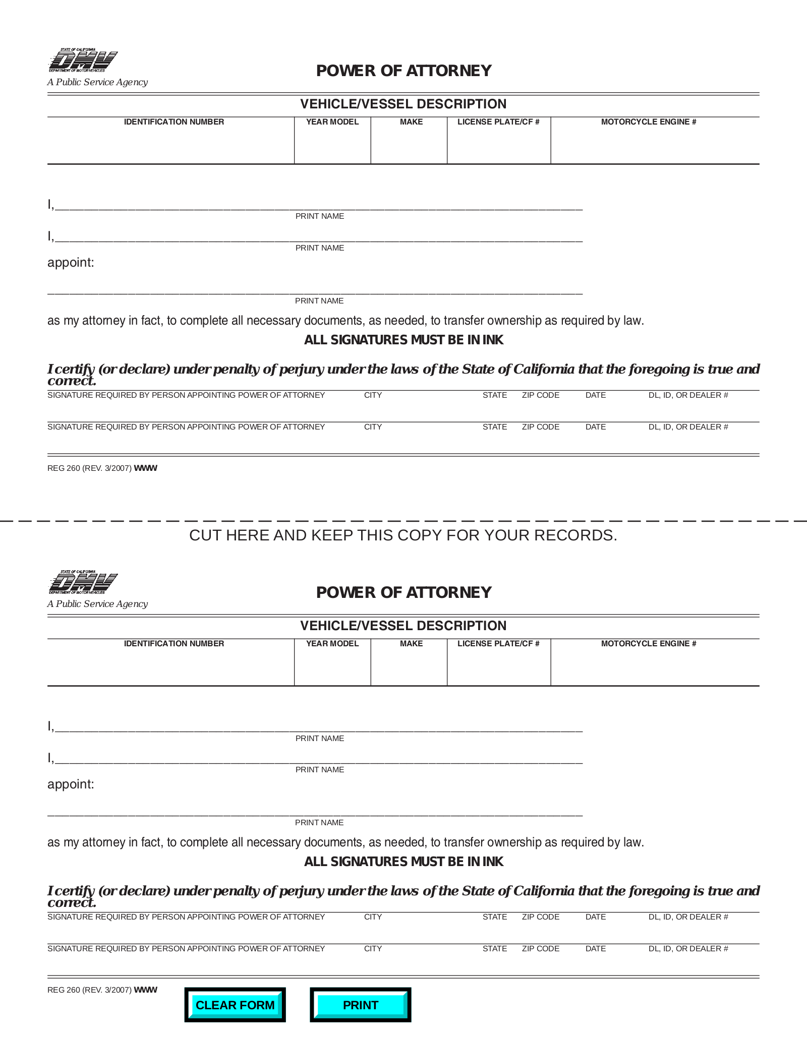 Free California Vehicle Power of Attorney Form - PDF