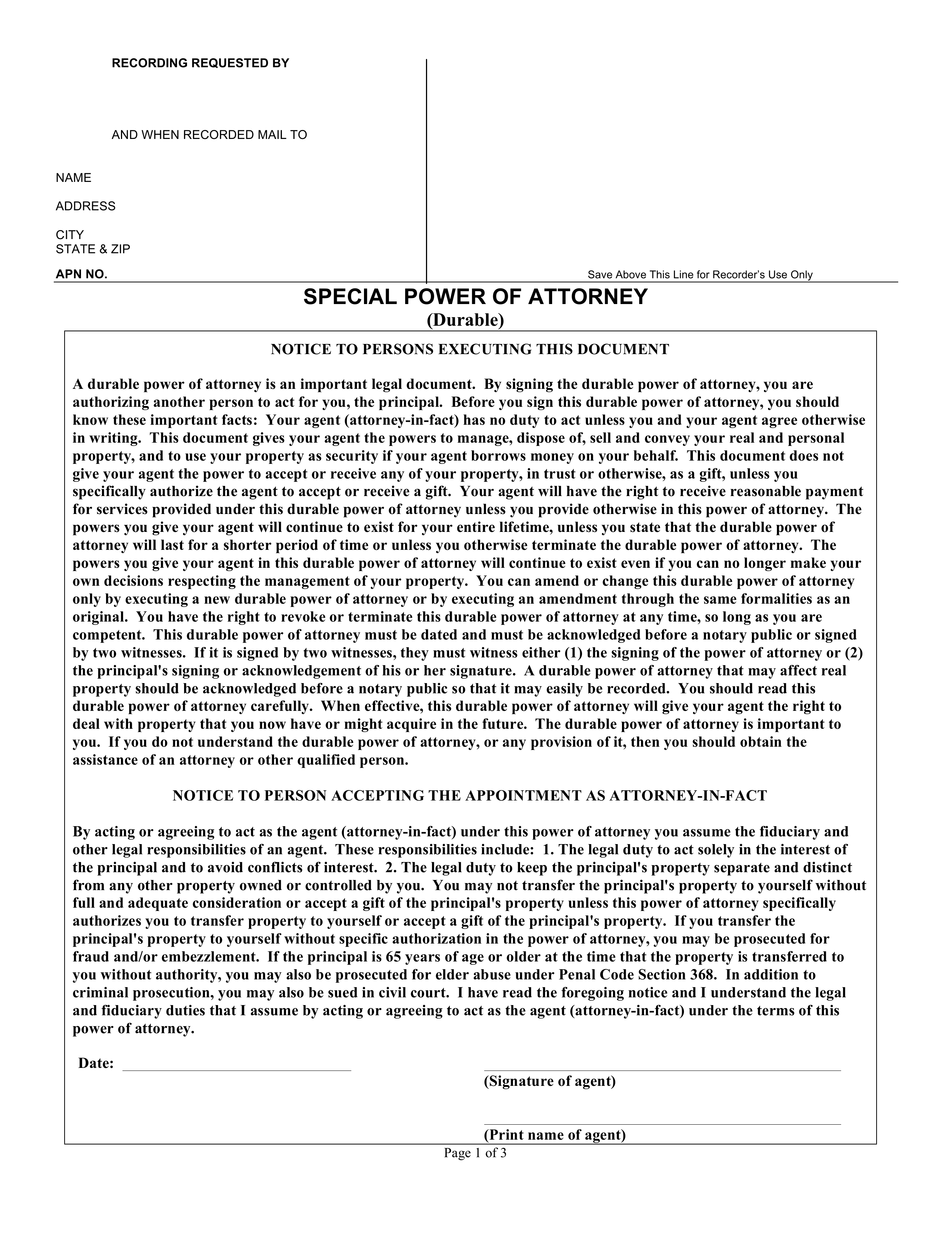 limited power of attorney form california  Free California Limited Power of Attorney Form - Word | PDF ...