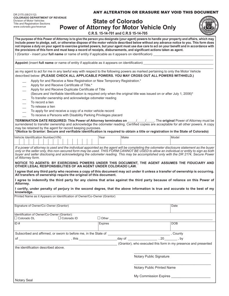 free colorado motor vehicle power of attorney form pdf