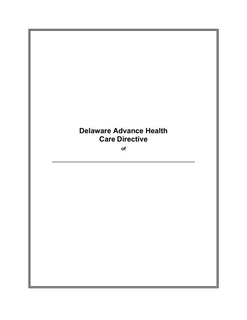 Free Delaware Advance Health Care Directive Form - Word | PDF ...