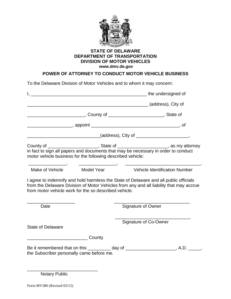 Delaware Motor Vehicle Power of Attorney Form (MV-386) | eForms ...