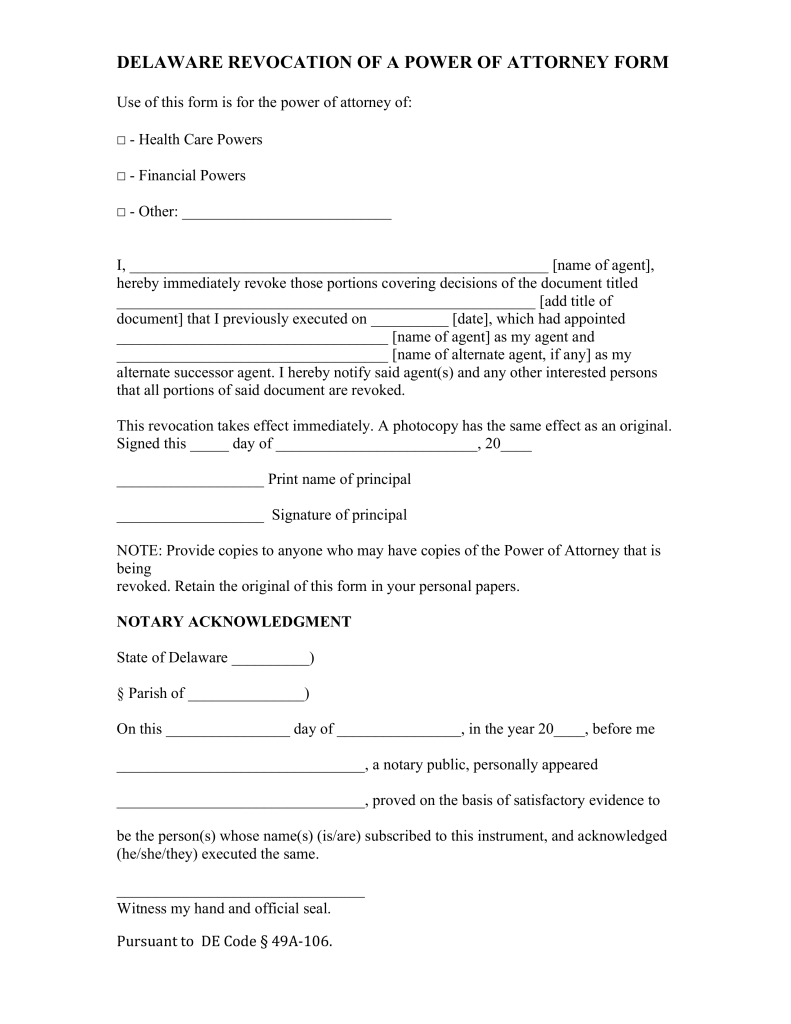 Free Delaware Power of Attorney Revocation Form - Word | PDF ...