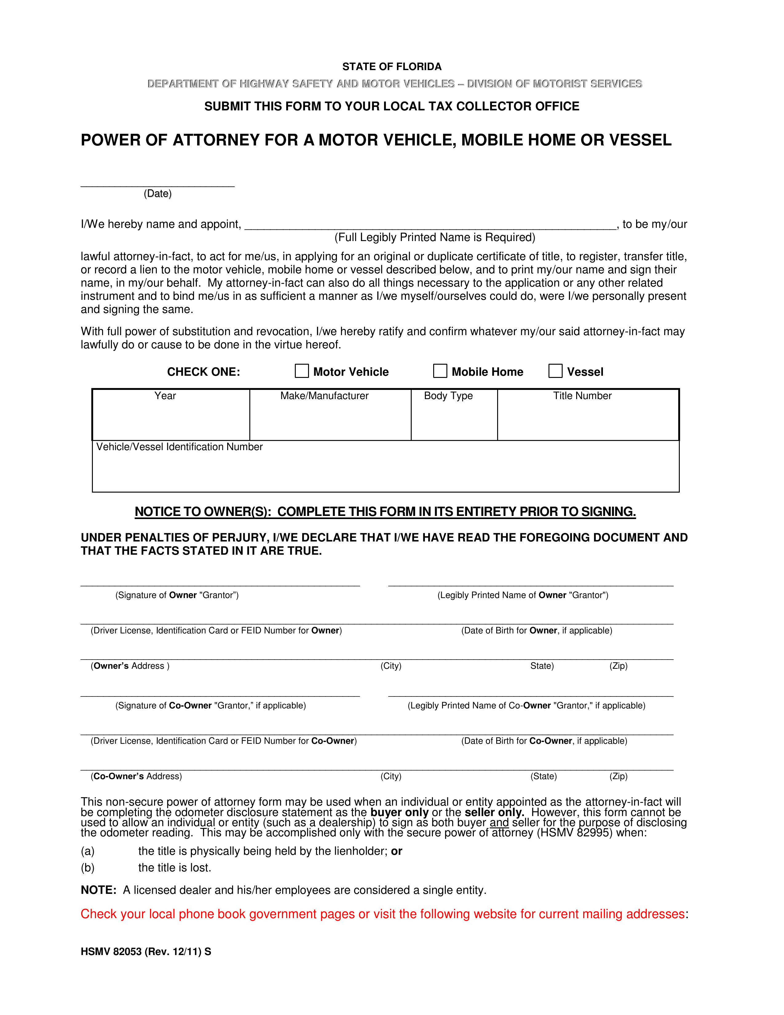 Free Florida Motor Vehicle Power of Attorney Form - PDF