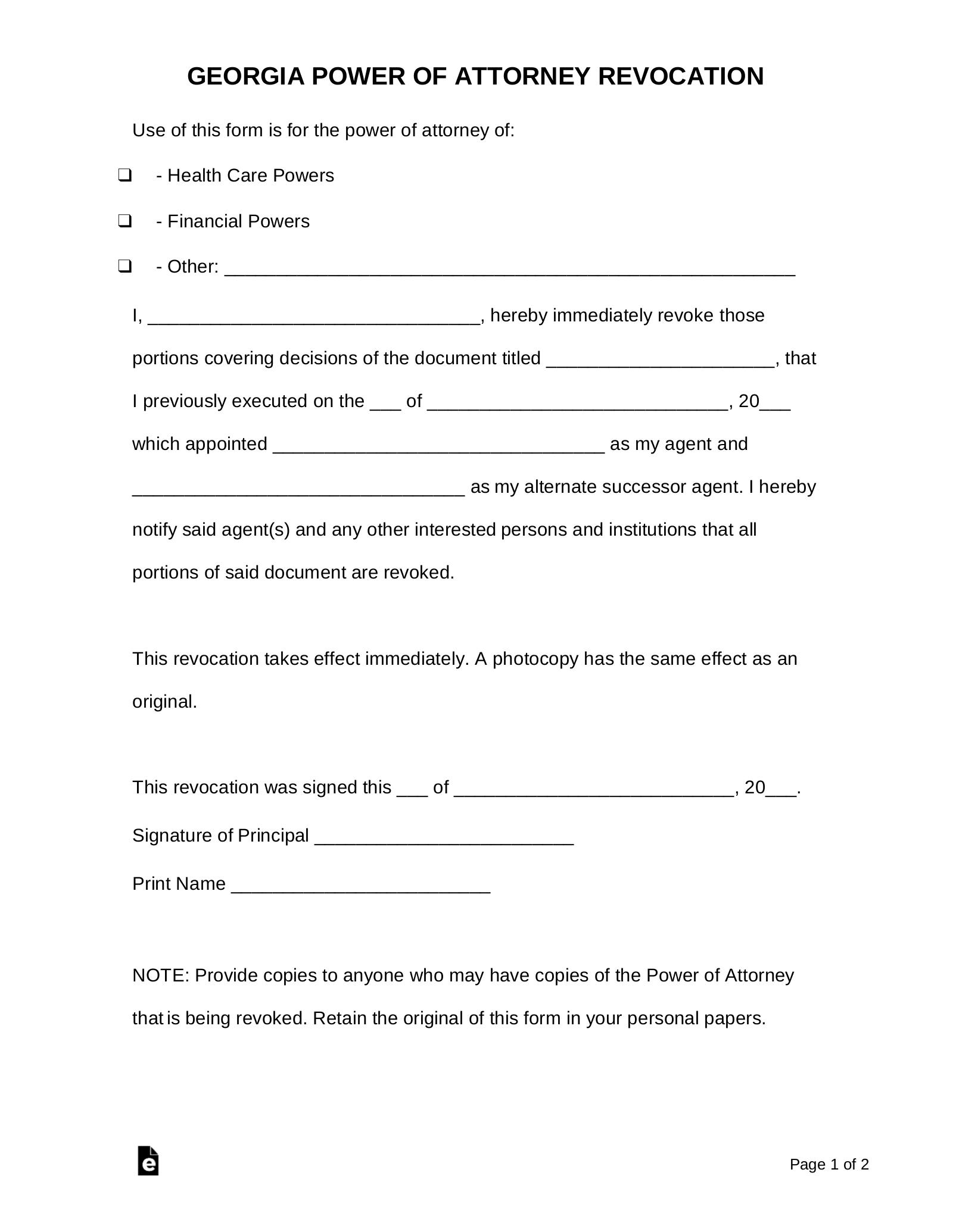 power of attorney form ga  Free Georgia Revocation Power of Attorney Form - PDF | Word ...