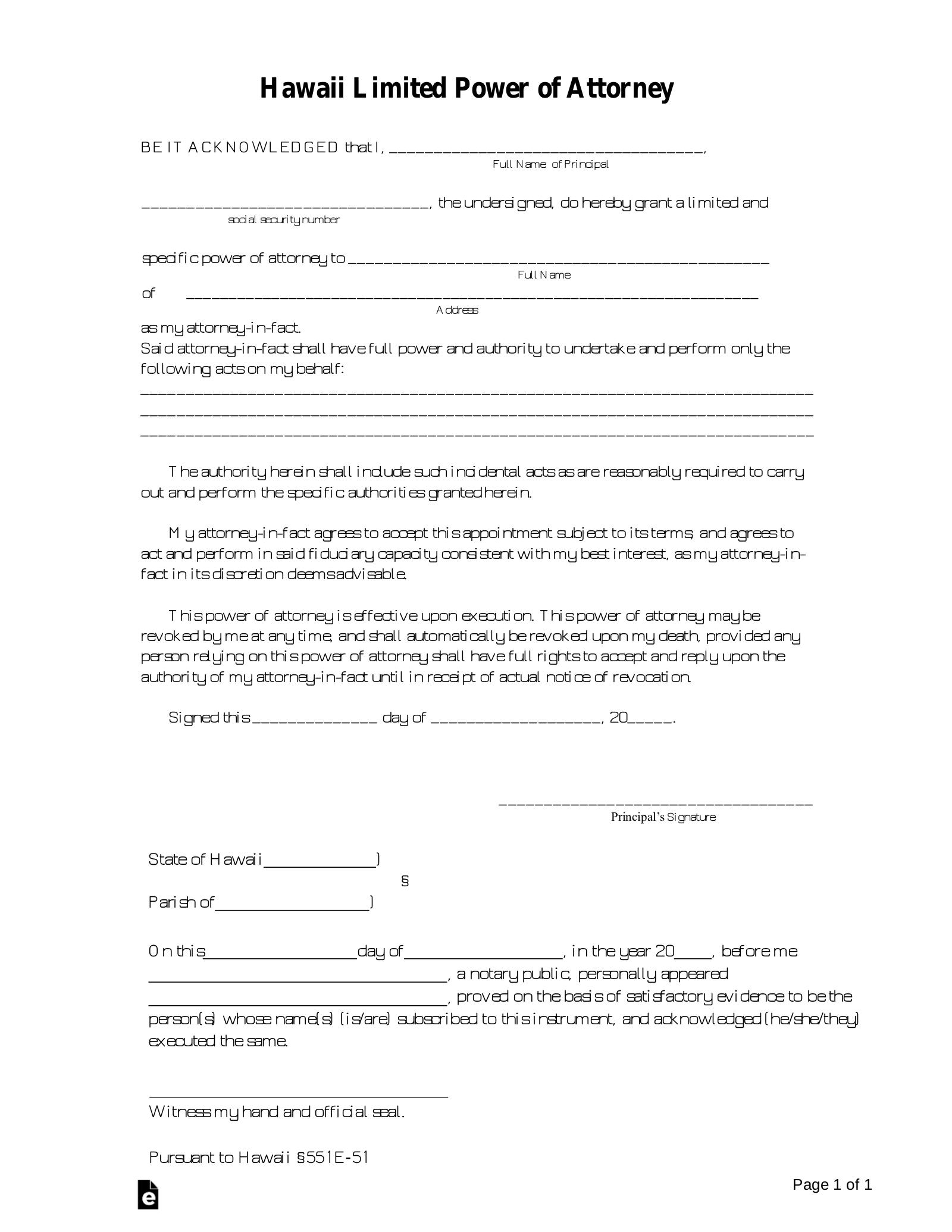 power of attorney form hawaii  Free Hawaii Limited Power of Attorney Form - PDF   Word ...