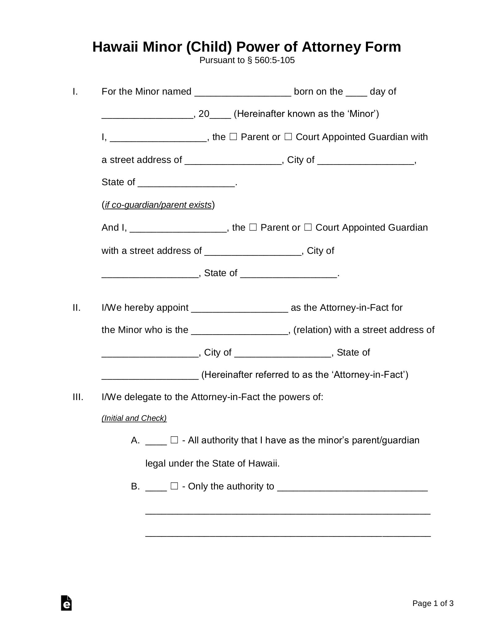 power of attorney form hawaii state  Free Hawaii Power of Attorney for a Minor Child Form - PDF ...