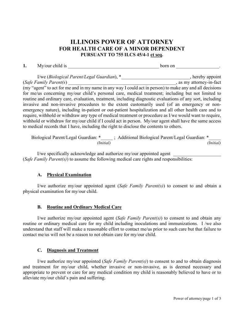 Free Illinois Power Of Attorney For Minor Child Form Pdf