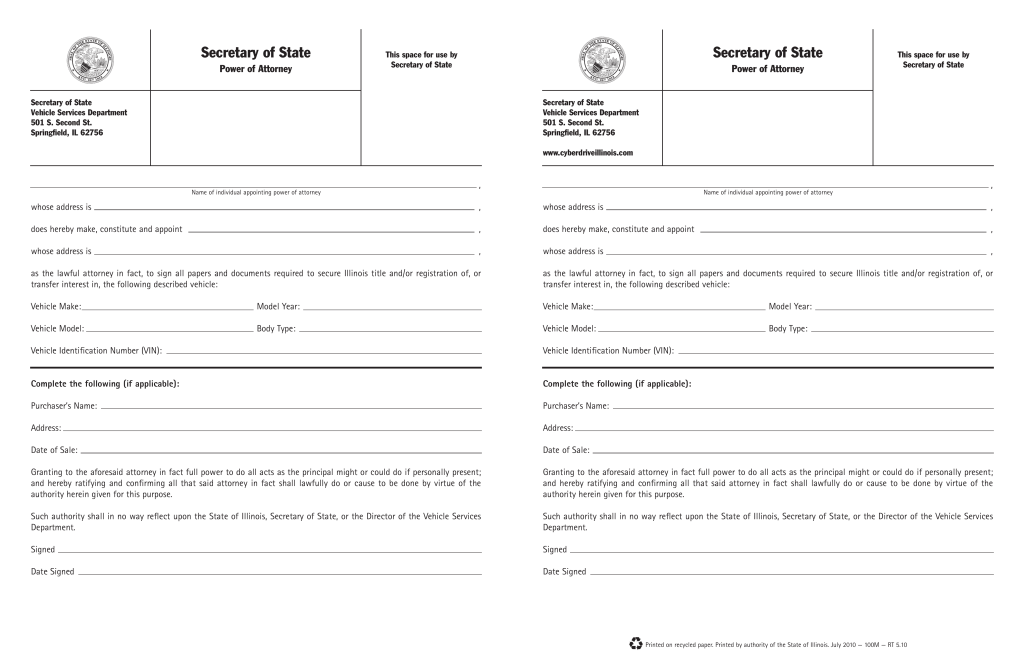 Free Illinois Motor Vehicle Power Of Attorney Form Pdf Eforms