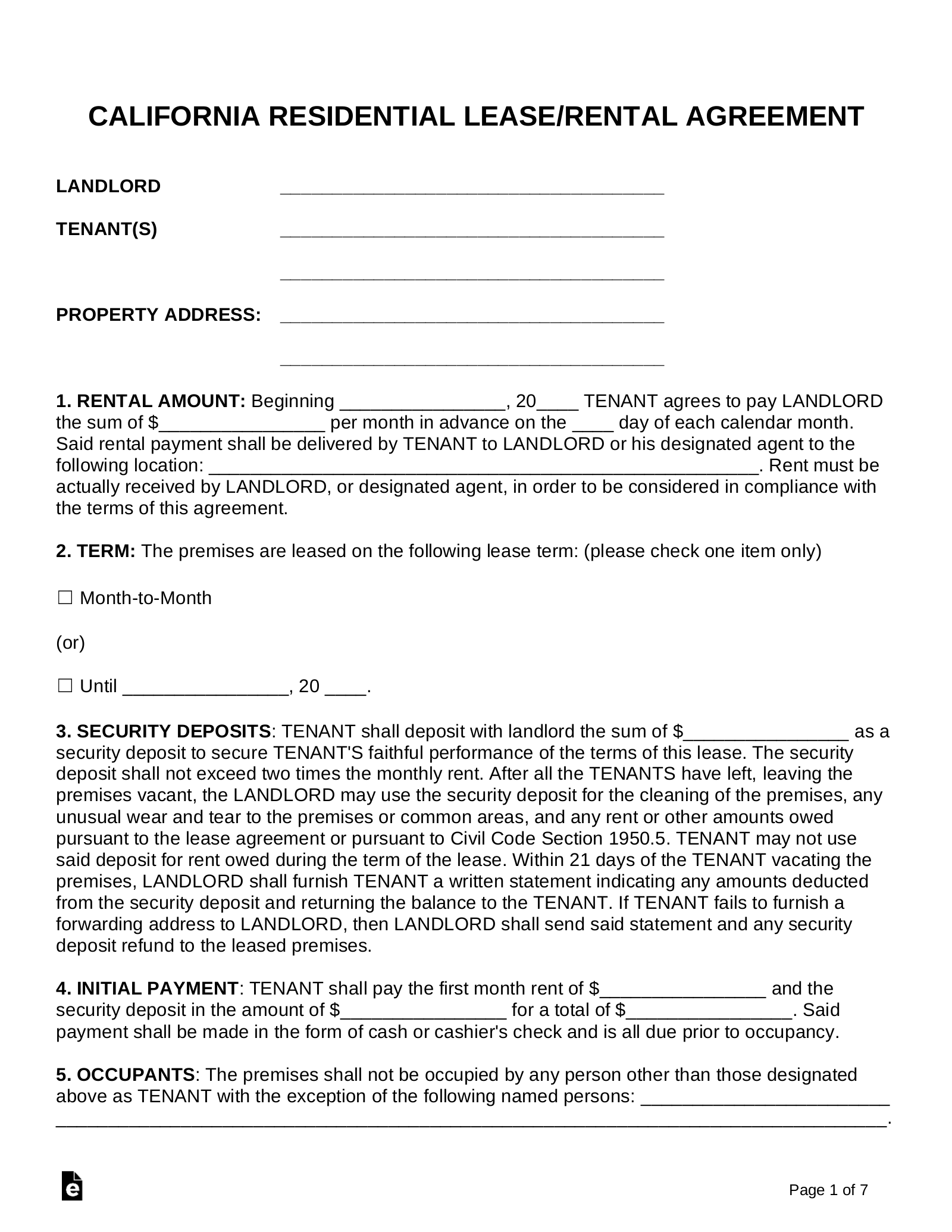 Free California Standard Residential Lease Agreement
