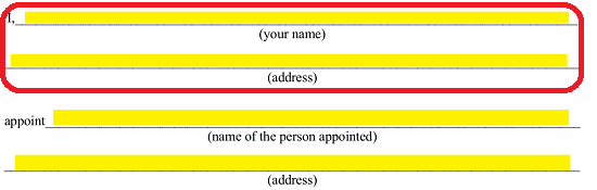 here enter the legal name and address of the principal approved attorney in fact on the blank lines labeled name of