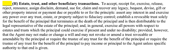 if the principal initials subject h the attorney in fact will be approved of using principal authority in the principals estates trusts