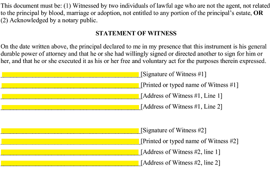in the statement of witness section each witness will need to agree with the statement and provide proof of such agreement by providing his or her