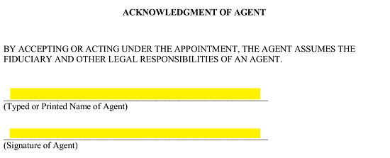 this will provide proof the attorney in fact has read understands and will accept the powers defined on this form