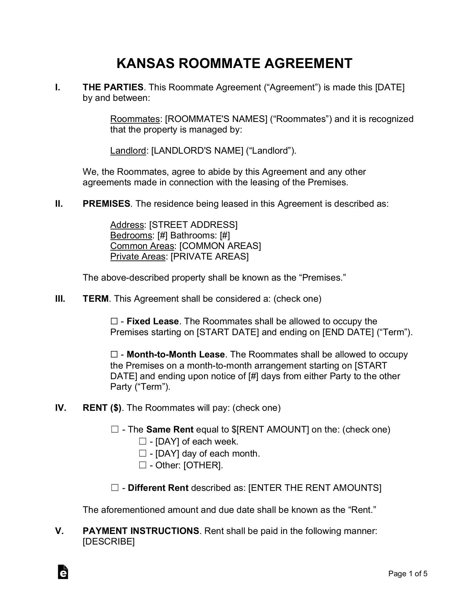 Free Kansas Room Rental Roommate Agreement Form Word