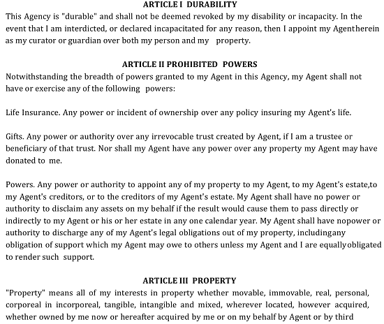 3 The Principal Must Review Powers Concerning Property Delivered Through This Form