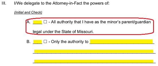 Free Missouri Minor Child (Parental) Power of Attorney Form