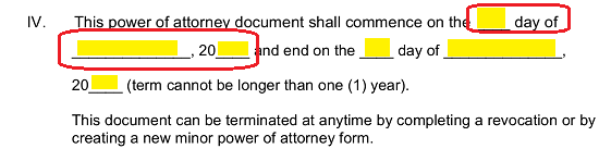 enter the calendar day month and year of the first day the attorney in fact will act as a guardian on the first three blank spaces in the statement