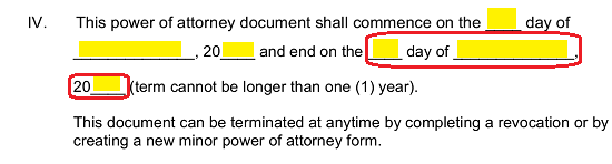 use the last three spaces to record the calendar day month and year when the attorney in facts principal guardian powers terminate or end