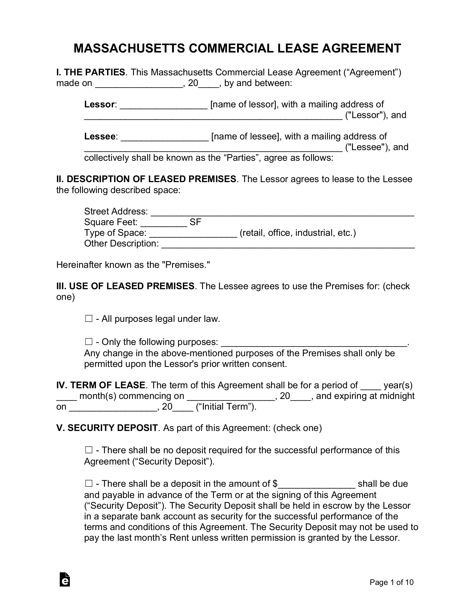 Free Massachusetts Commercial Lease Agreement Template - PDF