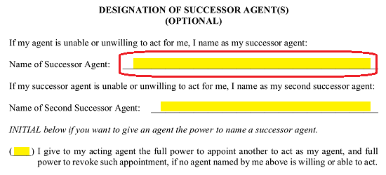 the next blank line in this area will bear the label name of second successor agent if the principal would like to name a second successor agent who