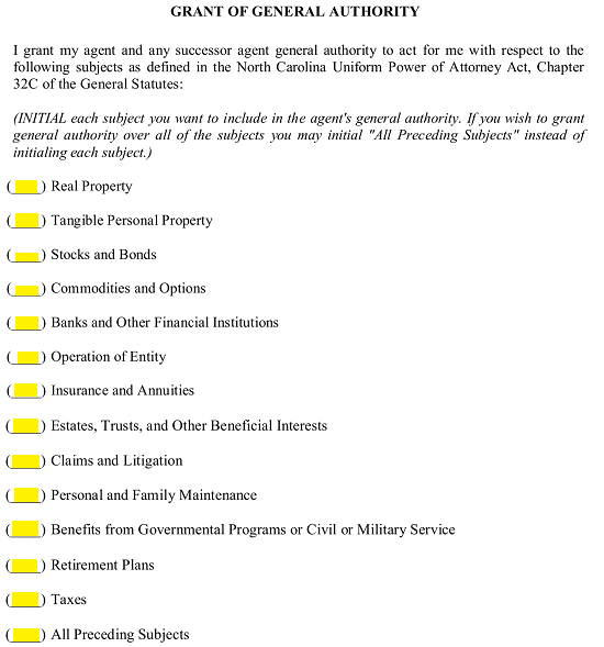 Resource image throughout printable durable power of attorney form nc