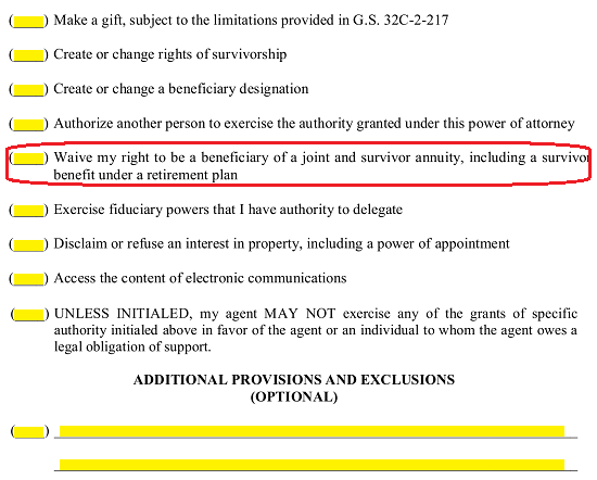 the fifth statement will enable the agent to waive the principals right to be a beneficiary of a joint and surviving annuity if it is initialed by the