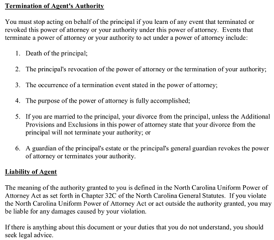 Free North Carolina Durable Financial Power Of Attorney Form