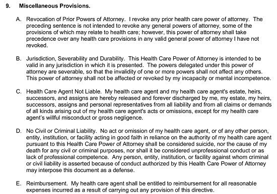 Free North Carolina Health Care Power Of Attorney Form Pdf Word