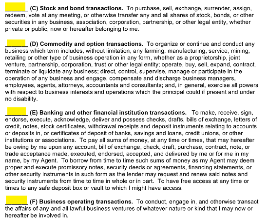 D Commodity And Option Transactions E Banking Other Financial Institution Or F Business Operating
