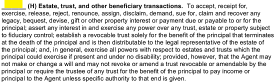 Statement H Will Enable The Principal To Grant Agent Power Conduct Estate Trust And Other Beneficiary Transactions In Principals